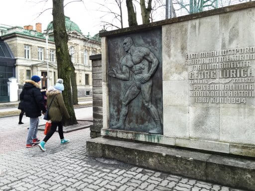 Bronze statue of Estonian Greco-Roman wrestler & strongman. Georg Lurich studied at the Tallinn Secondary Science School from 1887 to 1894 before becoming the founder of Estonian wrestling sport and a multiple world champion.