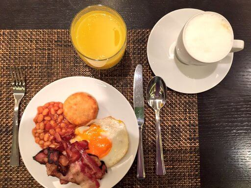 We had the tasty hot breakfast in the Executive Lounge at the Hilton Vienna Plaza