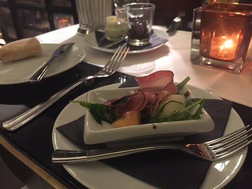 Our complimentray appetiser in Brasserie and Bar Émile at the Hilton Vienna Plaza
