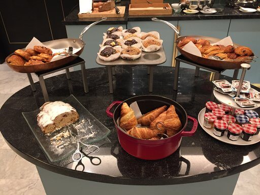 The breakfast pastries in the Executive Lounge at the Hilton Vienna Plaza