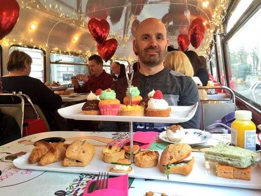 Andy on board B Bakery Afternoon Tea Bus Tour
