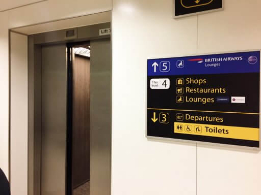 The British Airways Club Lounge at Gatwick airport is on Level 5 of the South Terminal. You can access it via this lift if you want to wander around the shops and terminal.