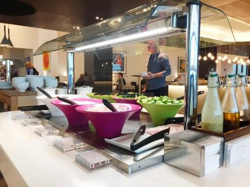 The British Airways Club Lounge at Gatwick offers a selection of salads and a range of hot food from 5:30pm.