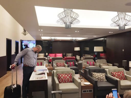 The British Airways Club Lounge at Gatwick is divided into various smaller spaces with various seating options & layouts to choose from.