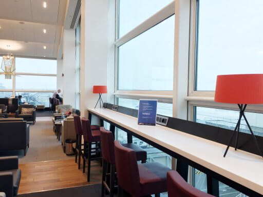 The first thing that struck me as we entered the Club Lounge was how bright and light it was. At the bottom end of the lounge there's bar-style seating with great views of the apron.