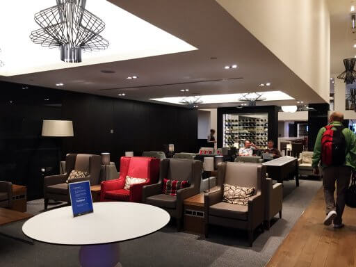 """The first area you come to as you enter the British Airways Club Lounge at Gatwick has a """"living room"""" feel to it, with lots of armchair type seating."""