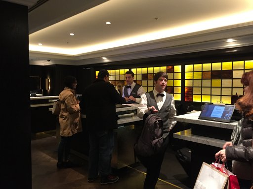 The reception desks at the Hilton Vienna Plaza