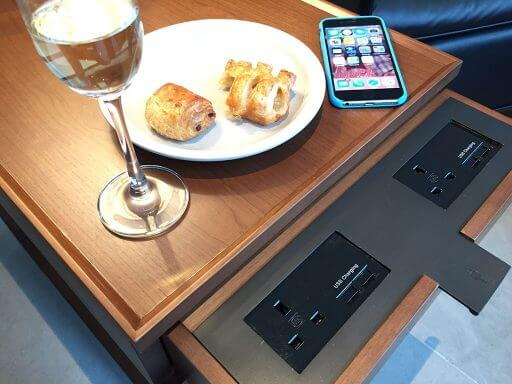 Charge your tech as you sip champagne in the Cathay Pacific lounges at Heathrow Terminal 3