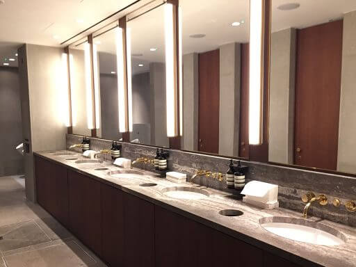 Wonderfull washroom facilities, stocked with Aesop toiletries in the Cathay Pacific lounges at Heathrow Terminal 3