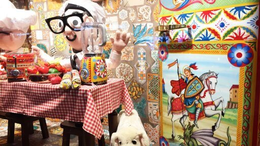 Italian influences can be seen throughout, from the traditional men's tailor to the Pinocchio-esque cuckoo clock workshop. With its retro wallpaper, Smeg fridge and mountains of tomatoes, The Italian Kitchen takes the showstopper crown.