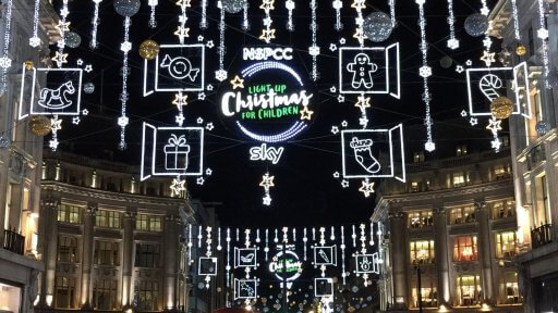 """For the second year in a row, the Oxford Street lights are sponsored by the NSPCC, partnering this year with Sky Cinema. They aim to raise money for NSPCC and Childline with the festive """"Light up Christmas for Children"""" campaign."""