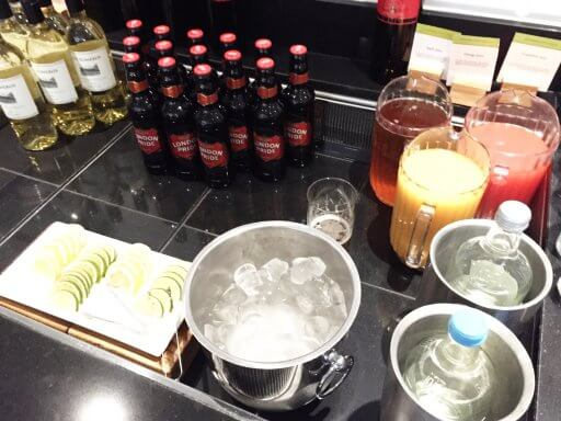 The Happy Hour drink options in the Doubletree Tower of London Executive Lounge were a bit limited, with only a choice of red and white wine, London Pride and draught Becks beers or fruit juices.