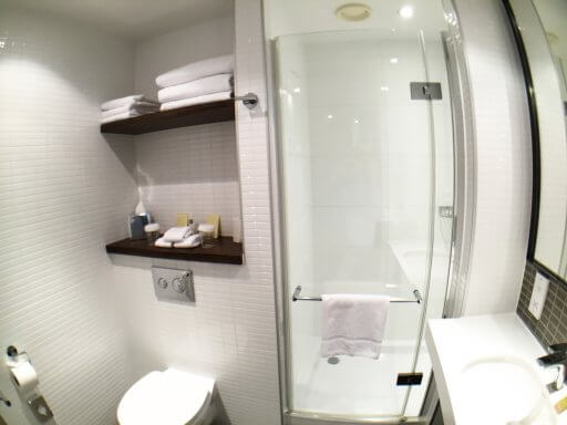 The bathrooms at the Doubletree Tower of London don't have a lot of floor space and it'd certainly be a squeeze for two people to use it at the same time.