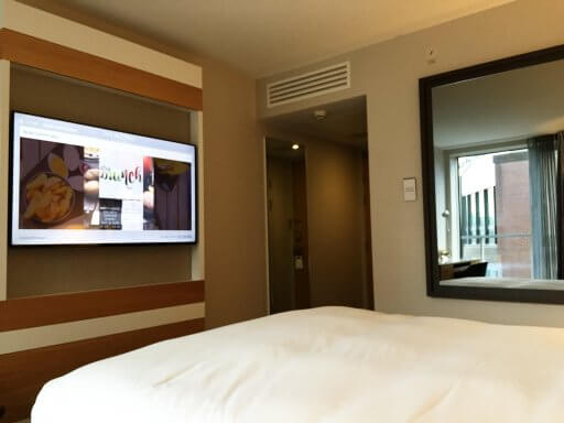"""The iMac has gone and now the rooms boast 52"""" flatscreen TVs. In my opinion, the 52″ TV is a much better option."""