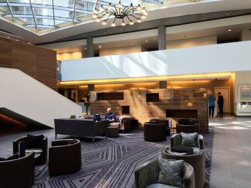 There are two bars in the hotel. Firstly, there is the Lobby Bar, a light and airy space under the hotel's central atrium. As well as drinks, the bar serves a selection of light lounge bites and afternoon tea.