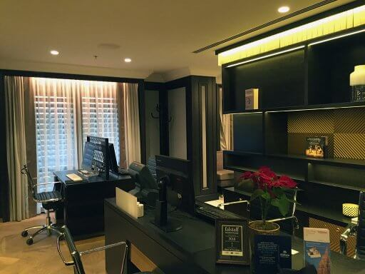 The reception area of the Executive Lounge has a PC and an iMac for guest use at the Hilton Vienna Plaza