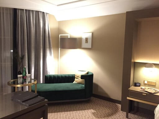 You can work at the writing or desk relax on the chaise lounge in the Executive rooms at the Hilton Vienna Plaza