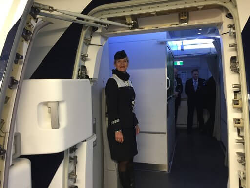 A warm welcome aboard at Helsinki for our return flight in Finnair A350 Business Class