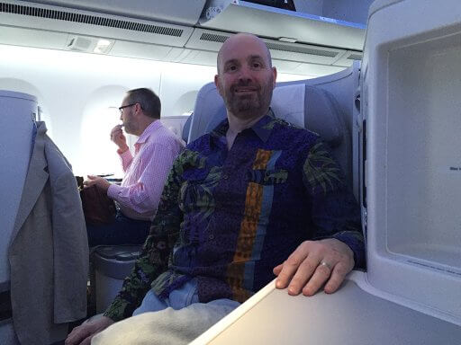 Andy settles in or the return leg of our Finnair A350 Business Class flight