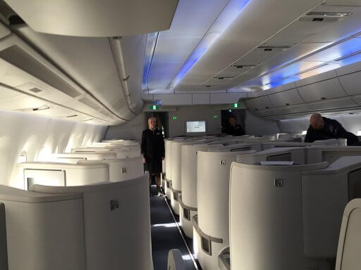 The cabin crew were waiting to help us settle in as we boarded the Finnair A350 Business Class cabin