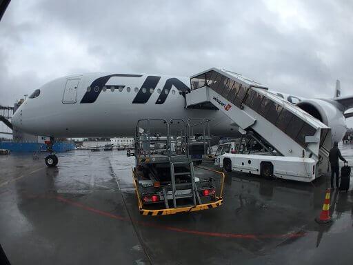 Deplaning at Helsinki after our Finnair A350 Business Class flight