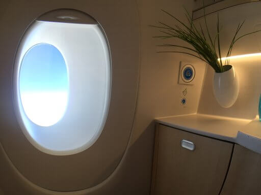 The loos have views in the Finnair A350 Business Class cabin