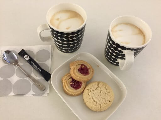A quick coffee in the Finnair Lounge at Helsinki airport before our return flight in Finnair A350 Business Class