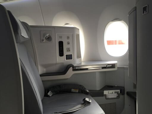 The Finnair A350 Business Class seat from the side