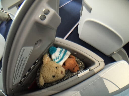 The Finnair A350 Business Class seat comes with a handy storage locker (NB: Jetset Bears not included)