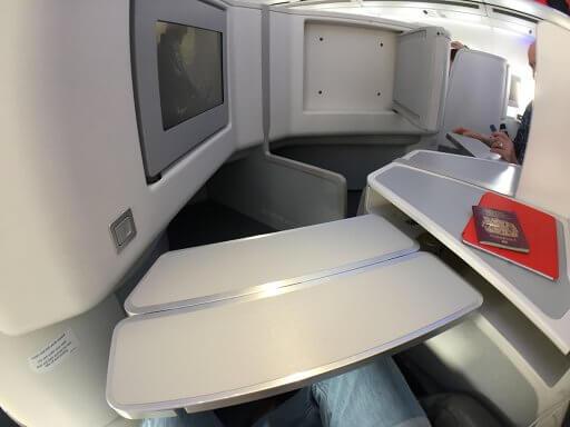 The Finnair A350 Business Class tray table