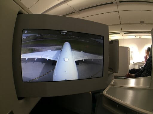 Watching take off on the tail camera on our Finnair A350 Business Class flight to Helsinki
