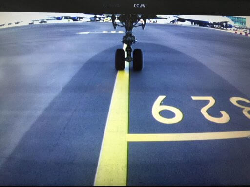 Watching take off on the undercarriage camera on our Finnair A350 Business Class flight to Helsinki