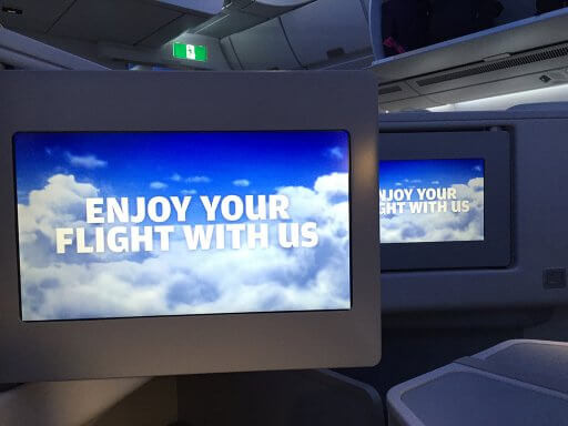You are even welcomed by the in-flight entertainment system on a Finnair A350 Business Class flight