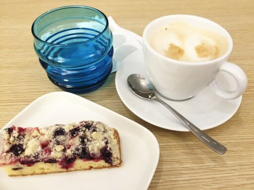 Cake & coffee in the Finnair Non-Schengen Lounge at Helsinki Airport