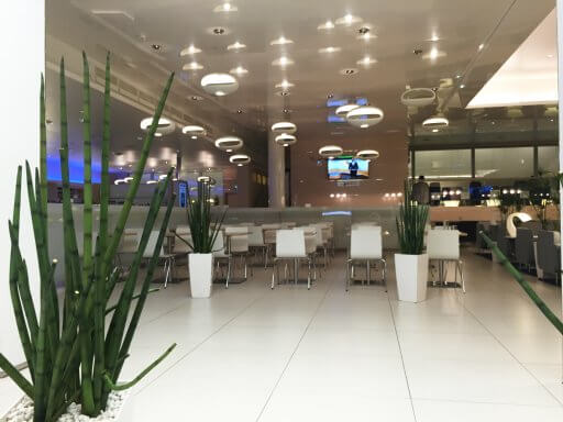The dining area in the Finnair Non-Schengen Lounge at Helsinki Airport
