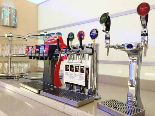 A choice of draught beers in the Finnair Non-Schengen Lounge at Helsinki Airport
