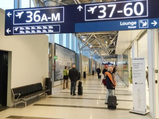 The Finnair Non-Schengen Lounge at Helsinki Airport is located between gates 36 & 37