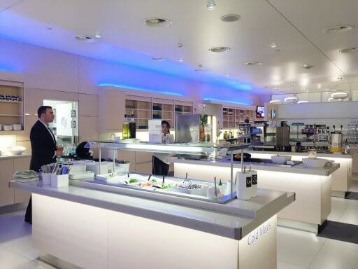 The food & beverage area in the Finnair Non-Schengen Lounge at Helsinki Airport