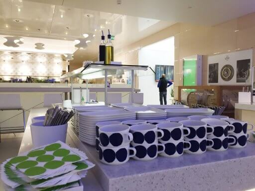 Unique Marimekko crockery is used in the Finnair Non-Schengen Lounge at Helsinki Airport