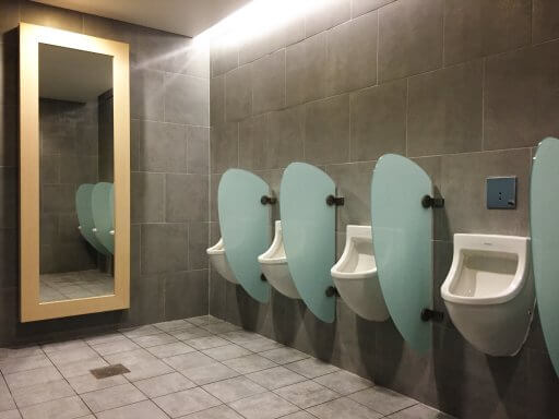 The mens toilets in the Finnair Non-Schengen Lounge at Helsinki Airport