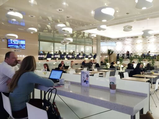 The Finnair Non-Schengen Lounge at Helsinki Airport has numerous seating zones to choose from