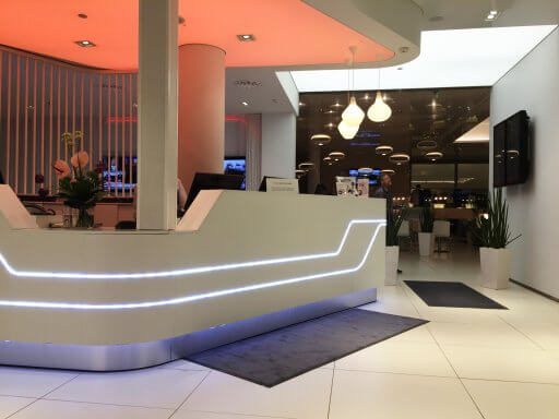 The reception desk at the Finnair Non-Schengen Lounge at Helsinki Airport