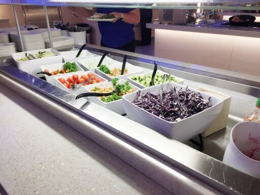 Some of the salad selection in the Finnair Non-Schengen Lounge at Helsinki Airport