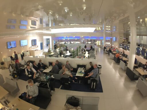 Looking across from the mezzanine in the Finnair Non-Schengen Lounge at Helsinki Airport