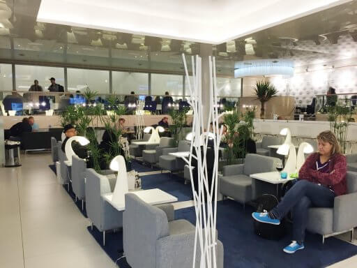 Comfortable seating in the Finnair Non-Schengen Lounge at Helsinki Airport