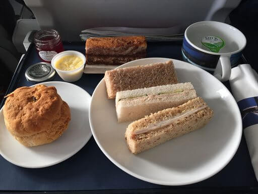 Sandwiches for Club Europe afternoon tea on BA703 from Vienna to London Heathrow