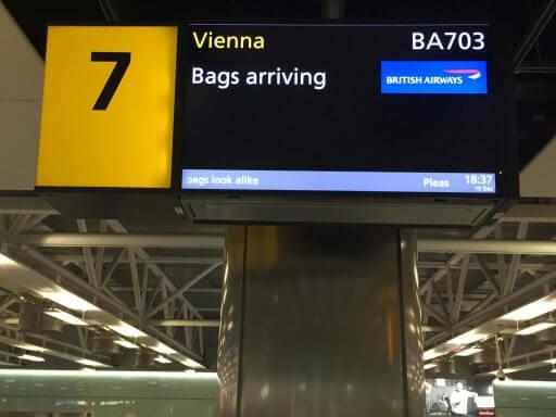 Baggage belt sign at Terminal 3, London Heathrow Airport
