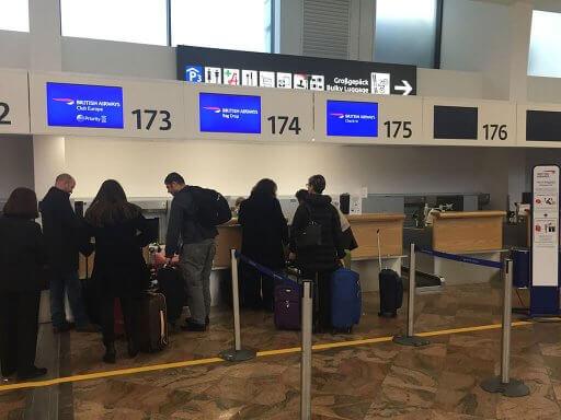 British Airways check-in desks at Vienna Airport