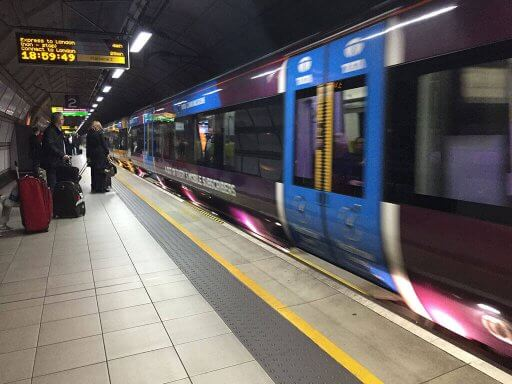 Waiting for the Heathrow Express train at London Heathrow Airport