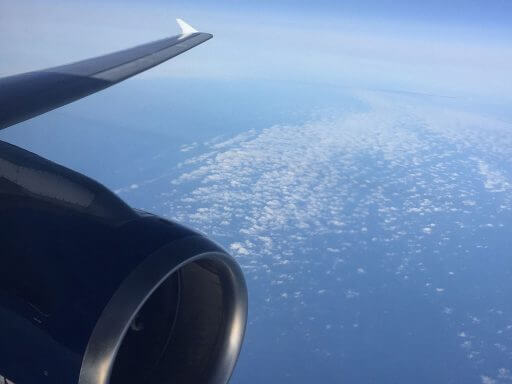 View out of the window over the wing from a Club Europe seat on BA700 from London Heathrow to Vienna